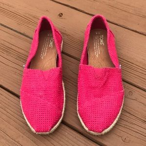 Toms Perforated Hot Pink Casual Slip On Espadrille